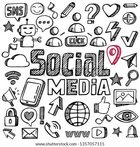 Social media vector sketch
