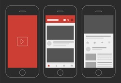 Social media video app display vector