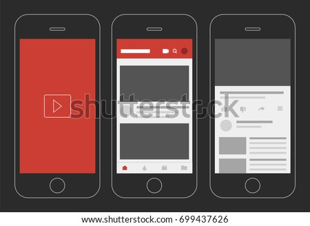 Social media video app display vector