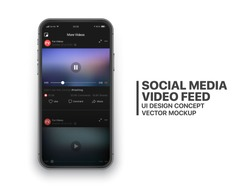 Social Media Video Feed Vector UI Concept for Social Network on Photo Realistic Frameless Smartphone Screen Isolated on White Background. Online TV Watching on Mobile Device