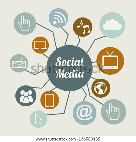 social media vintage over beige background. vector illustration