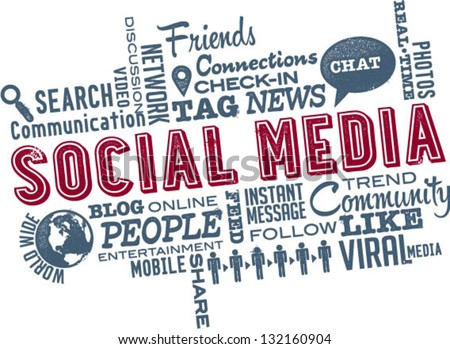 Social Media Word and Icon Cloud