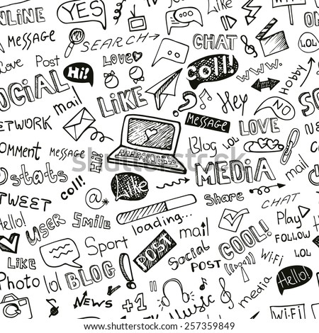 Social Media Word and Icons seamless pattern in Doodle sketchy .Hand drawing set.For Backdrop,background,fabric,Wallpaper.Vector background.