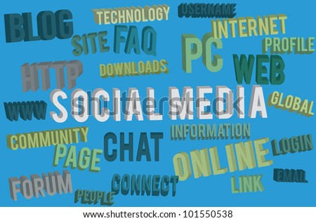 social media words for internet - vector illustration