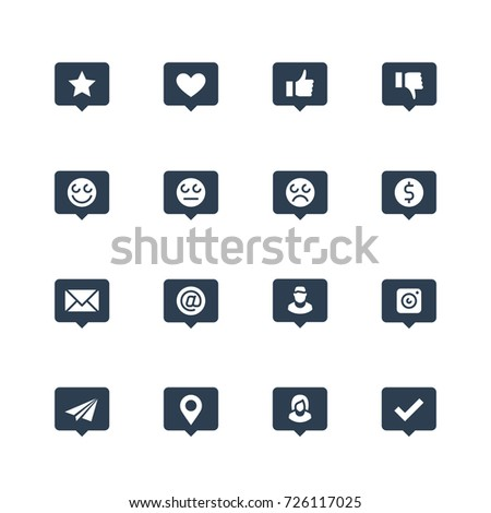 Social net notifications vector icon set in glyph style