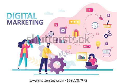 Social network and media communication. Promotion and SEO. Business analysis, content strategy and management. Digital marketing concept. Teamwork, group of businesspeople. Flat Vector illustration