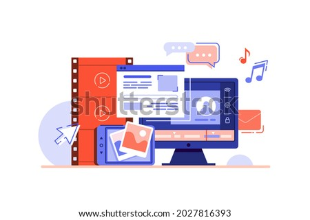 Social network and media devices vector illustration. Big variety of multimedia equipment flat style. Multimedia, digital marketing concept