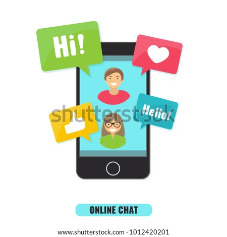 Social Network and online chat concept.