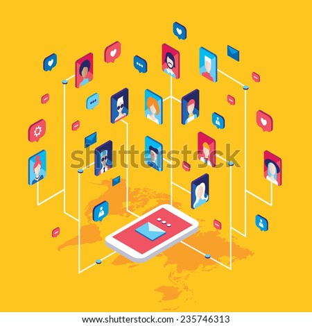 Social network and technology concept Global communication by smart phone mobile internet