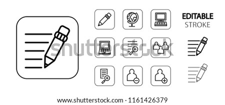 Social network, business, education, computer technology icon set. Simple outline website icons. Editable stroke. Vector illustration.