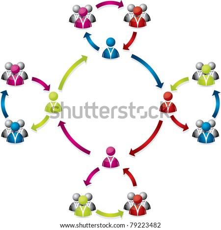 Social network business team interaction - stock vector