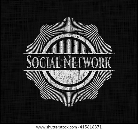Social Network chalk emblem written on a blackboard