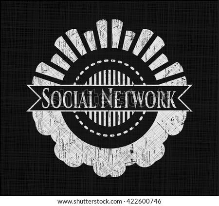 Social Network chalkboard emblem