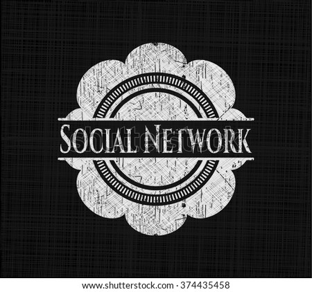 Social Network chalkboard emblem on black board