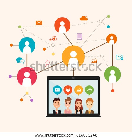 social network communication in the global computer network. connection people infographic. illustration vector of flat design.