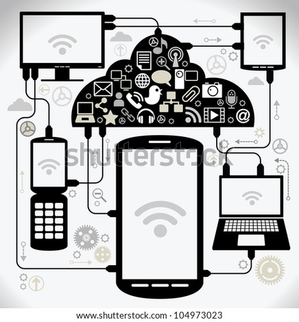 social network, communication in the global computer networks. laptop phone tablet  Connection