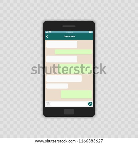 Social network concept. Blank template. Messenger window. Chating and messaging concept. Chat app template whith mobile keyboard. Vector illustration Message.