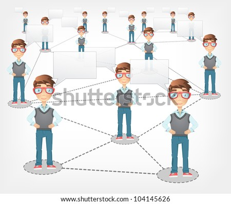 Social Network Concept. Grey Gradient Background. Vector EPS 10. - stock vector