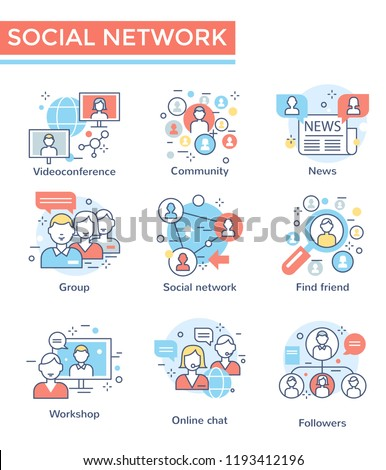 Social network concept icons, thin line, flat design