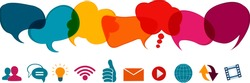 Social network concept. Speech bubble and online communication symbols. Communication dialogue and sharing of ideas data information news and thoughts in social media. Communicate via the web