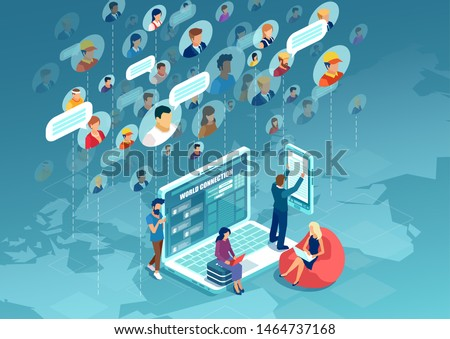Social network concept. Vector of diverse people connecting all over the world using modern technology