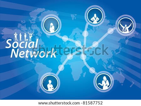 Social Network connection, abstract illustration with human figures
