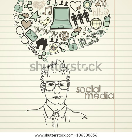 Social network doodles. Handsome men with thought bubble
