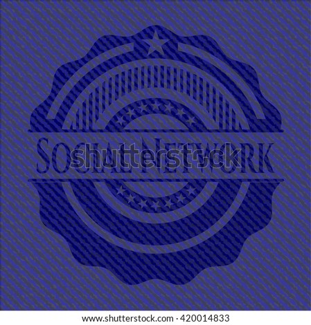 Social Network emblem with denim high quality background