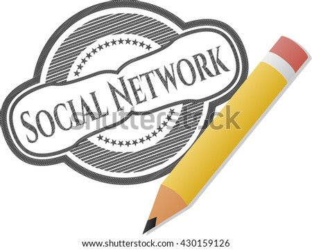Social Network emblem with pencil effect