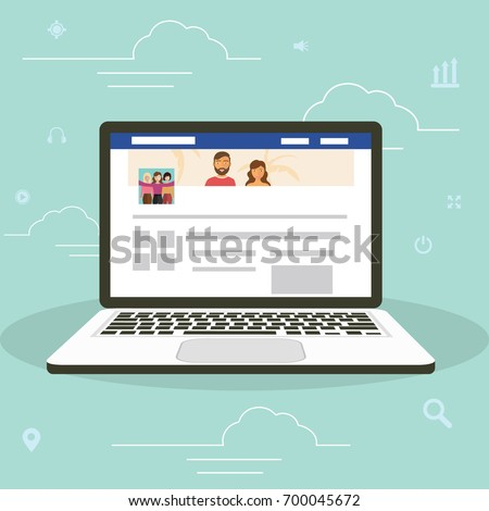 Social network facebook web site surfing concept illustration of young people using mobile gadgets laptop to be a part of online community