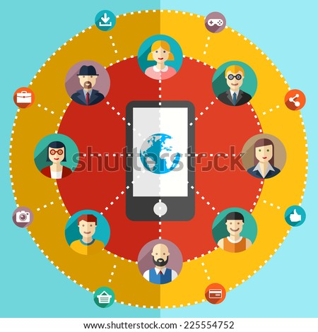 Social network flat illustration with avatars earth mobile phone