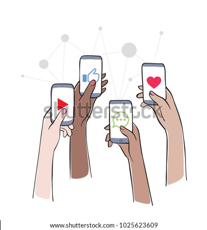 Social Network - Friends Interacting on Social Media Women using different social platforms. Hands holding smartphones with social network apps icons. Online communication and connection.