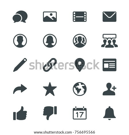 Social network glyph icons