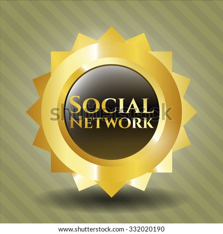 Social Network gold badge or emblem