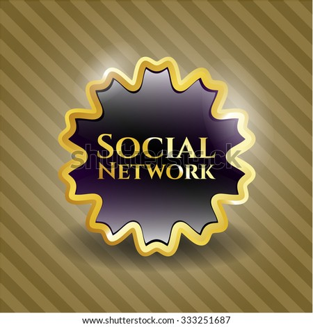Social Network golden emblem or badge