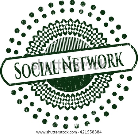 Social Network grunge style stamp