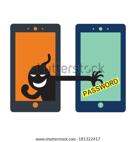 Social network hacker stealing password from smartphone screen, criminal on smart phone.