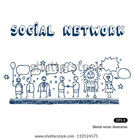 Social network. Hand drawn sketch illustration isolated on white background