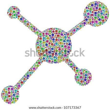 Social Network Icon in a mosaic of harlequin circles
