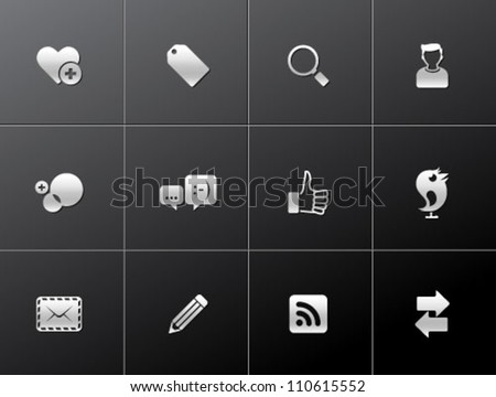 Social network icon series in metallic style