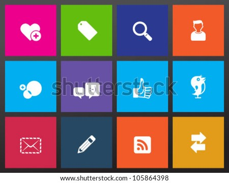 Social network icon series in metro style - stock vector