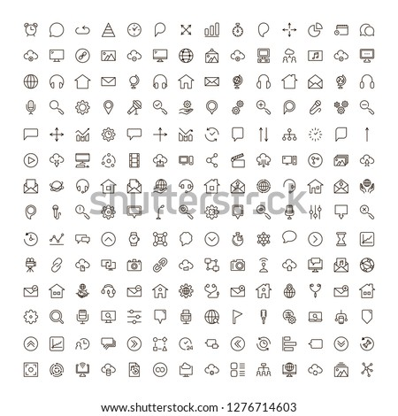 Social network icon set. Collection of high quality outline media pictograms in modern flat style. Black internet symbol for web design and mobile app on white background. Web line logo.
