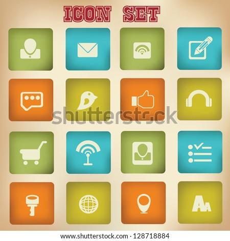 Social network,icon set,vector