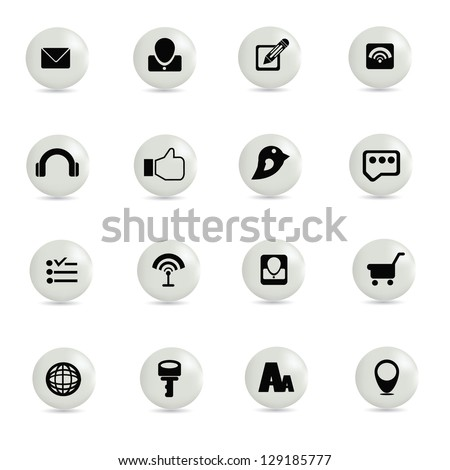 Social network,icon set,vector