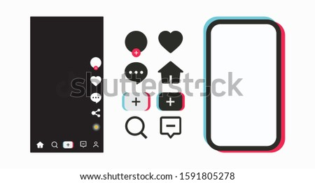 Social network icons in mobile phone color frame. Social media frame template mobile interface. Set of icons for social networking and blogging. Ready mobile vector of the form. Vector illustration