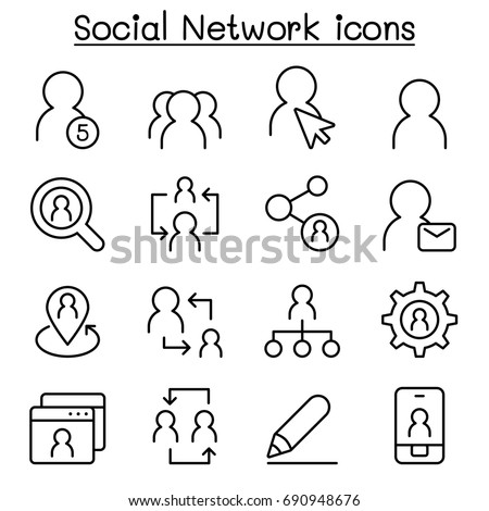 Social Network icons in thin line style