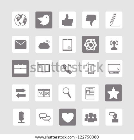 Social network icons isolated over gray background - Vector illustration - stock vector