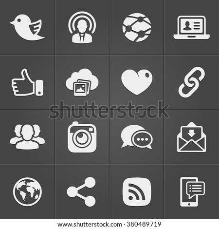 Social network icons on black set. Vector illustration EPS
