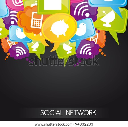 Social network icons on bubbles colors, vector illustration