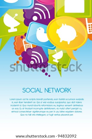 Social network icons on colors, Vector Illustration